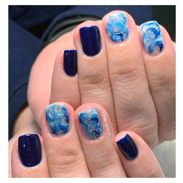 Navy Blue Short Water Nails Women