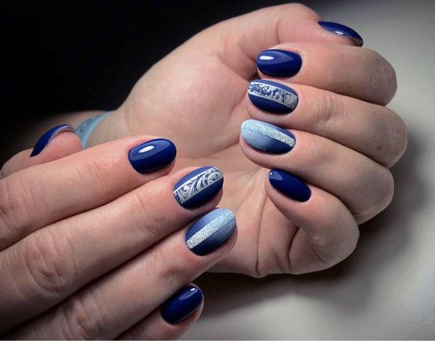 Navy Blue Sugared Nail Design For Women