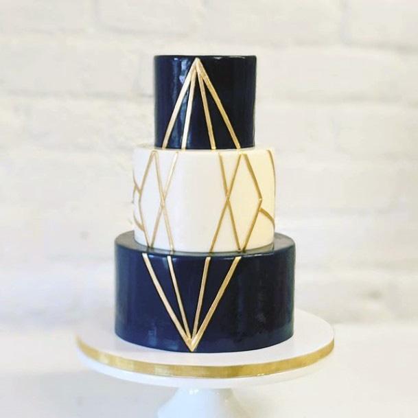 Navy Blue White 3 Tier Wedding Cake Women
