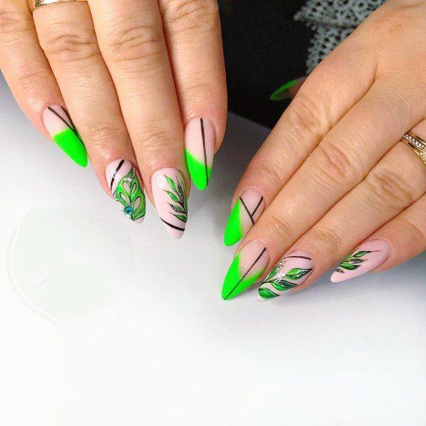 Neon Green Leaf Design On Nails