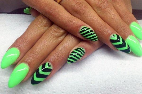 Neon Green Nails With Black Chevron