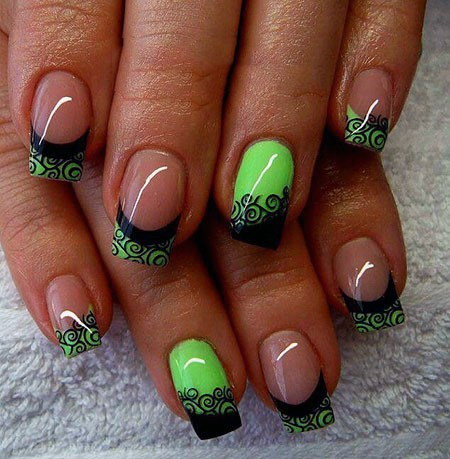 Neon Green Nails With Black Lace Art