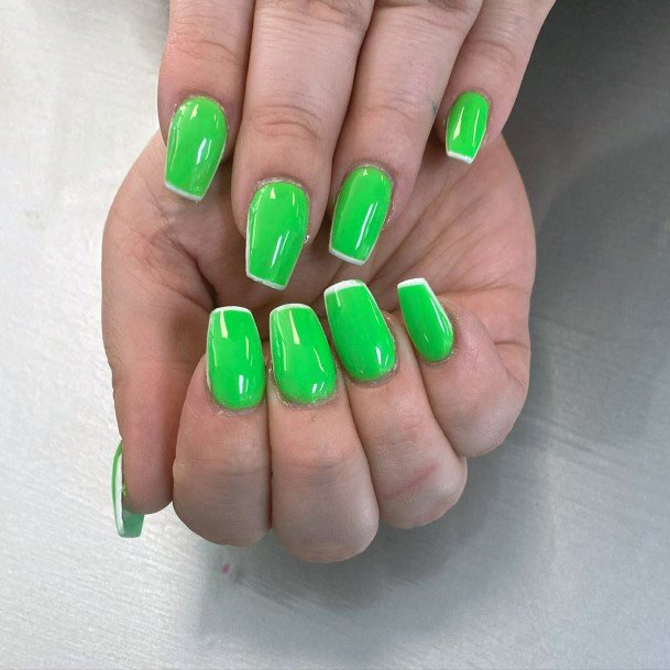 Neon Green Nails With White Tips