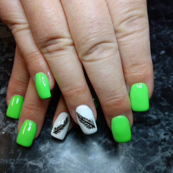 Neon Green Square Nails With Black Feather Design