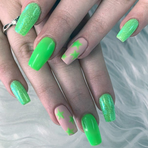 Neon Green Stars And Glitters Nail Art