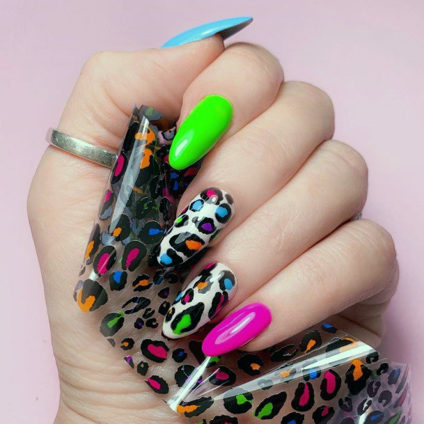 Neon Leopard Printed Nails