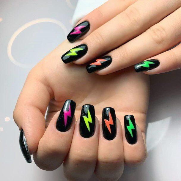 Neon Lightening Stamp On Black Nails Women