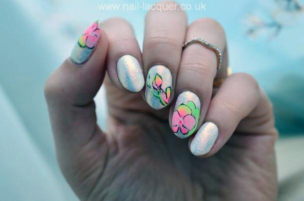 Neon Orchids On White Nail Design