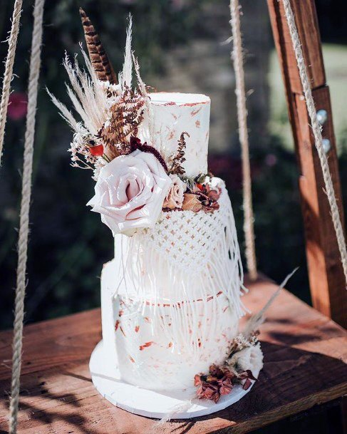 Netted 3 Tier White Wedding Cake Women