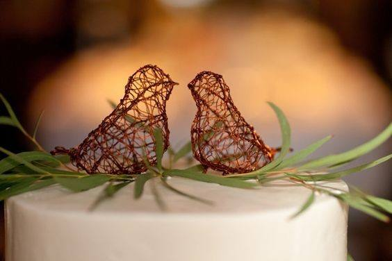 Netted Birds Rustic Wedding Cake Toppers Art