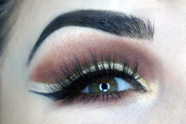 Neutral Gold And Brown Eyeshadow Women