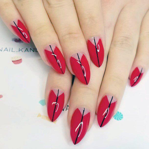 Nib Design Bright Red Nails For Women