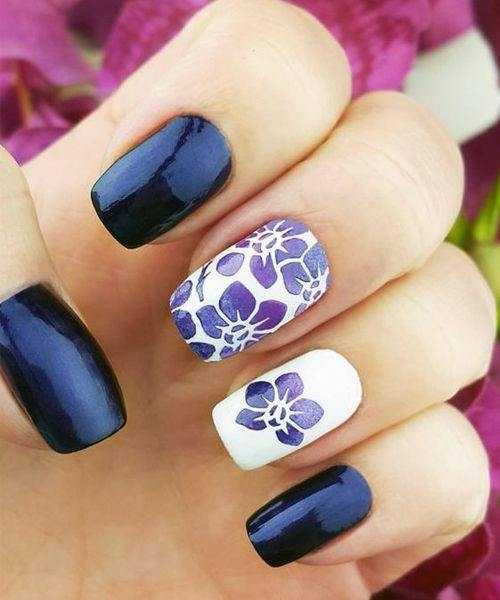 Night And Day Orchids Nail Design