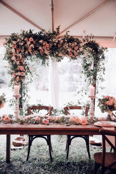 November Wedding Flowers Angled Arch