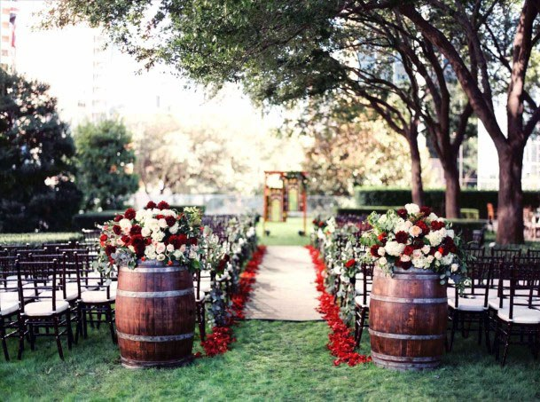 November Wedding Flowers Barrel