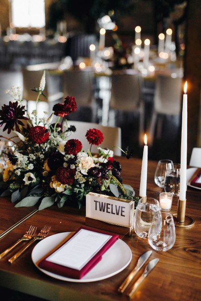 November Wedding Flowers Dining Table