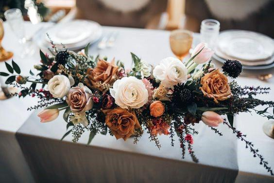 November Wedding Flowers On Table