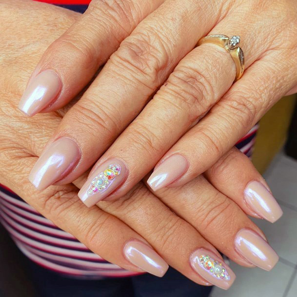 Nude Chrome Nails With Bling