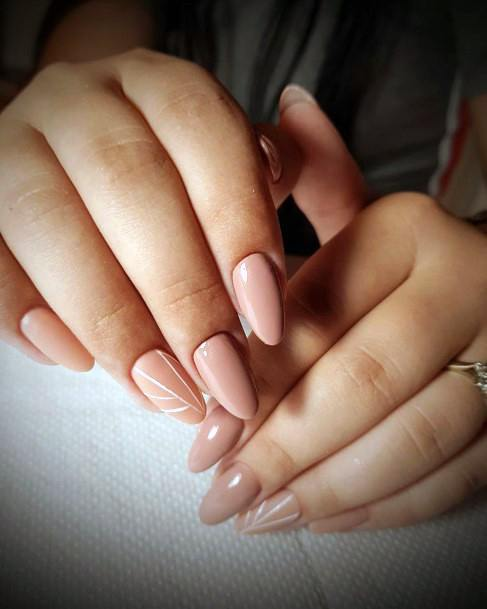 Nude Coral Shellac Nails For Women