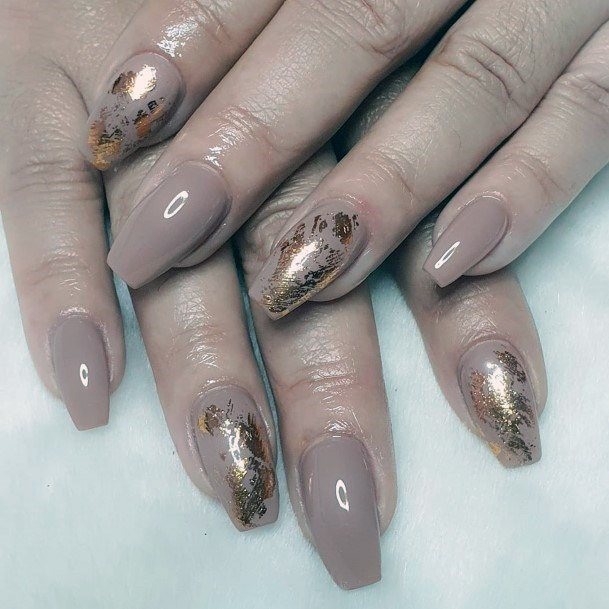 Nude Nails With Golden Foil