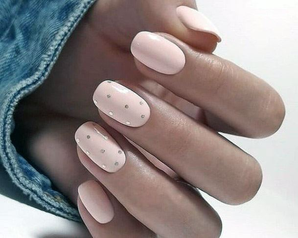 Nude Nails With Silver Polka Dots