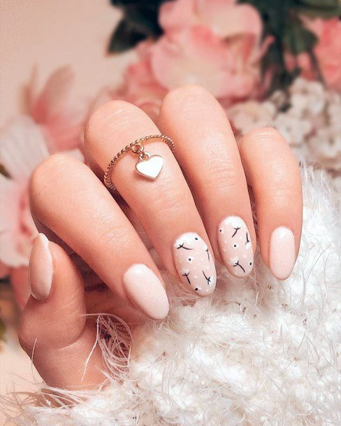 Nude Nails With Wish Fulfilling Plant Art