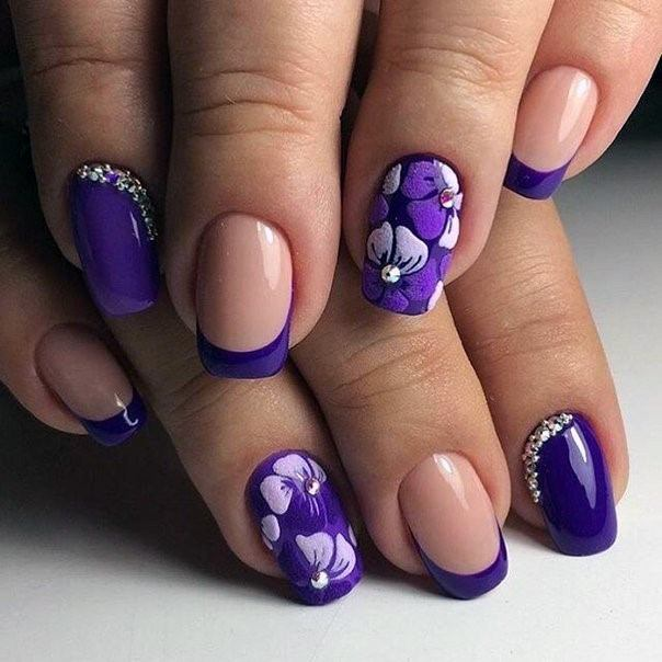 Nude Pink And Violet Orchid Nails