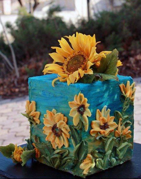 Oceanic Artful Cake Womens Wedding Sunflower