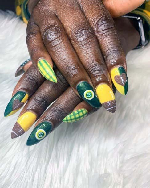 Olive Green And Yellow Nails Sport For Women Green Bay Packers