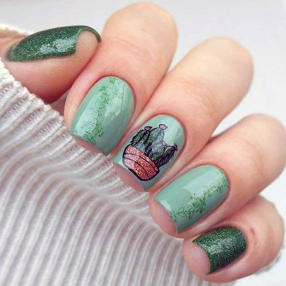 Olive Green Cactus Nails Women