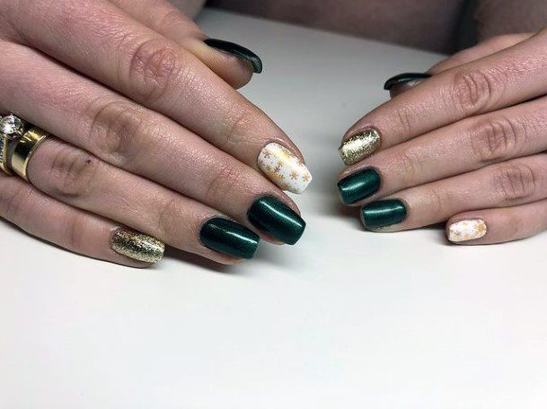 Olive Green Nails With White And Gold Accent Women