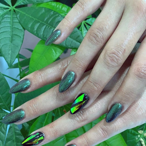 Olive Toxic Green Glass Nails For Women