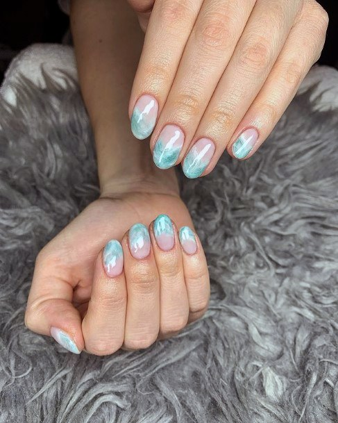 Ombre Blue Water Nails Women