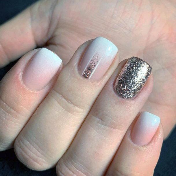 Ombre Nude Nails With Golden Glitter