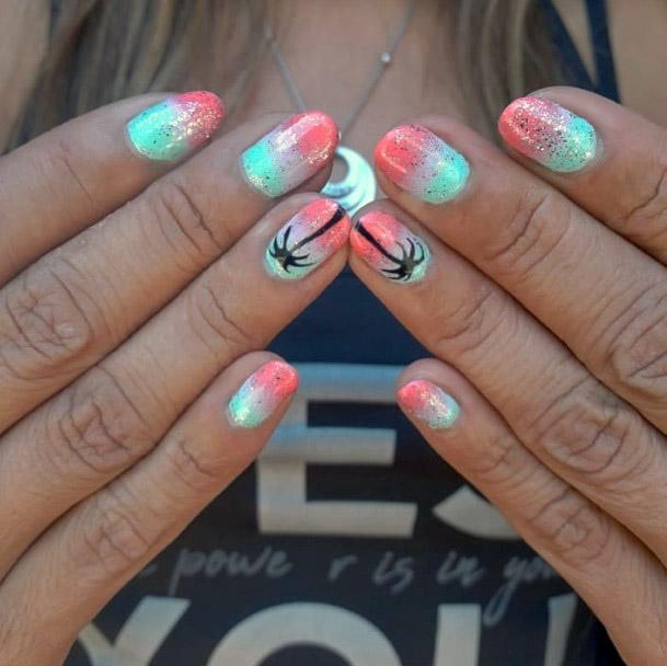 Ombre Tropical Nails With Sparkles Women
