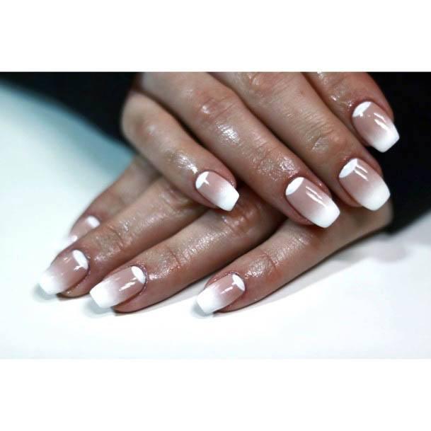 Ombre White Nails Manicure Women