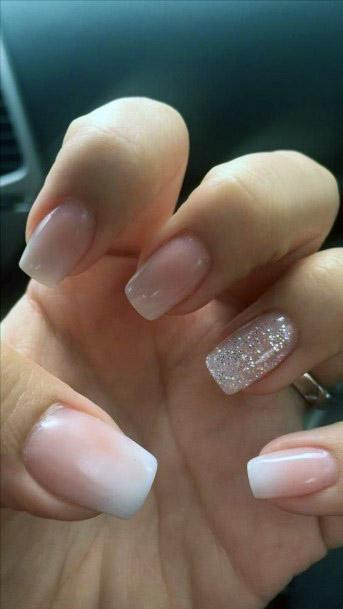 Ombre With Sparkles Nude Nails
