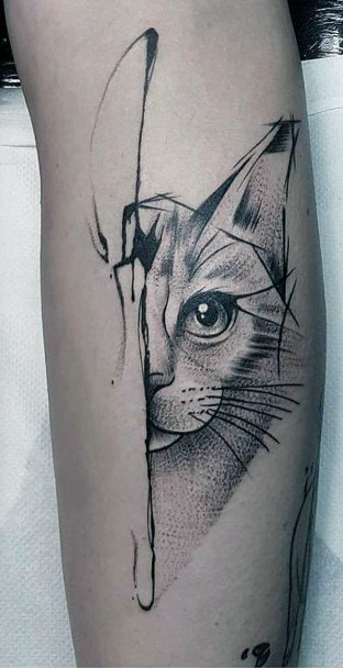 One Sided Cat Tattoo For Women
