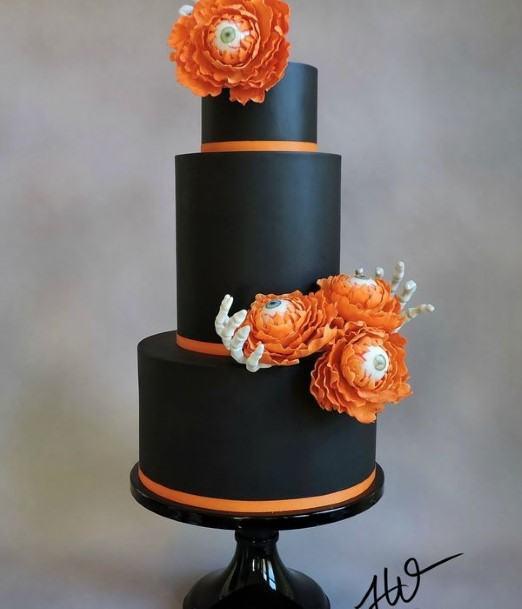 Orange And Black Halloween Wedding Cakes
