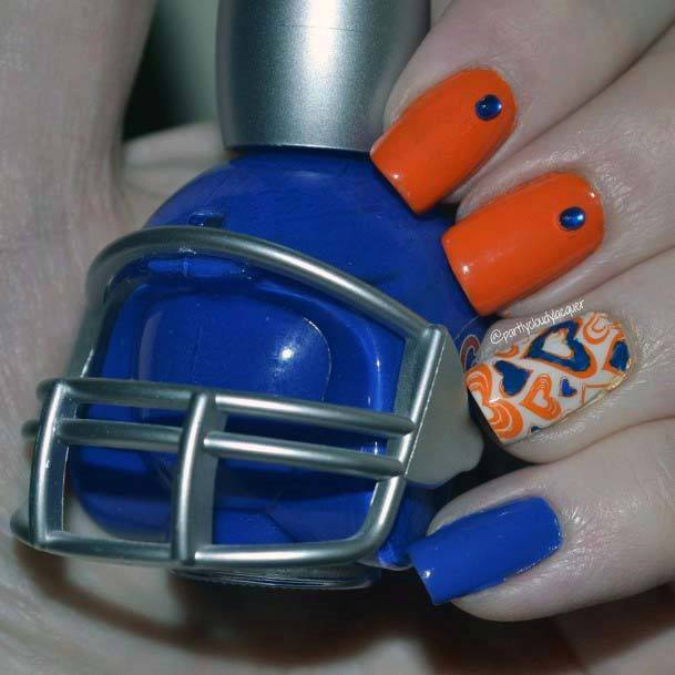 Orange And Blue Crystals And Heart Nails For Women
