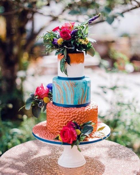 Orange And Blue Unique Wedding Cake