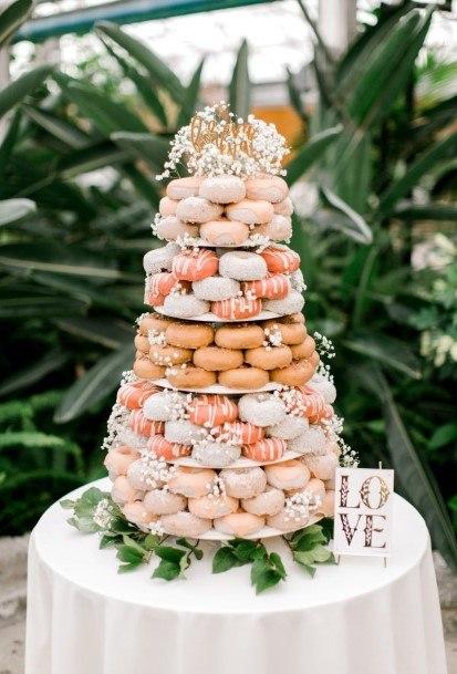 Orange And Pink Donut Wedding Cake