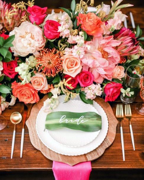 Orange And Pink Hawaiian Wedding Flowers
