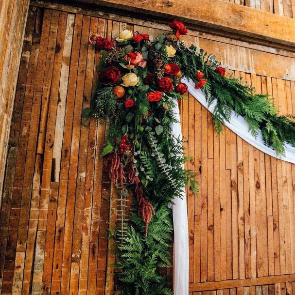 Orange And Red Flowers With Green Wedding