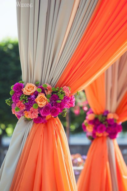 Orange And White Fabric Decorated With Flowers Indian Wedding Art