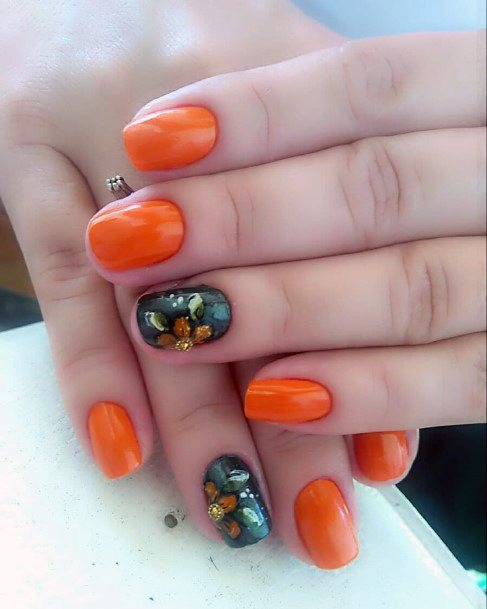 Orange Black Bling Nail Decoration