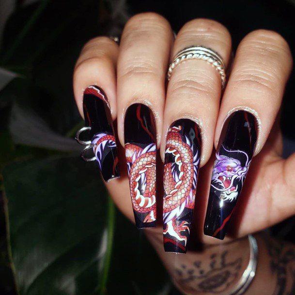 Orange Cobra Art On Black Nails Women