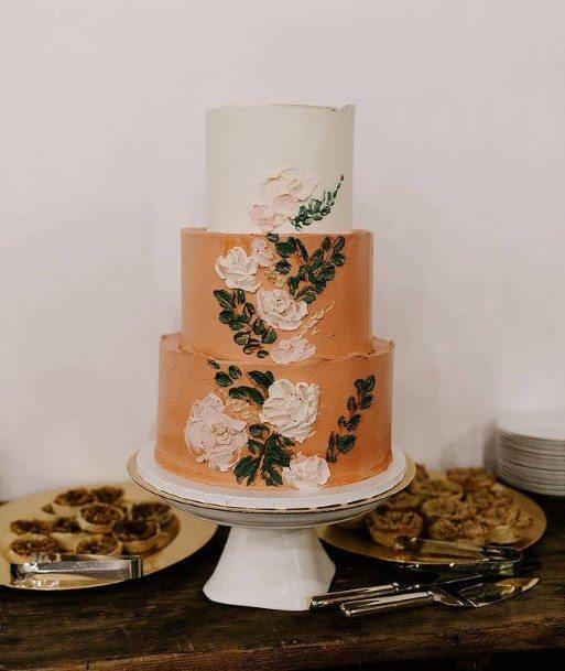 Orange Colored Buttercream Wedding Cake