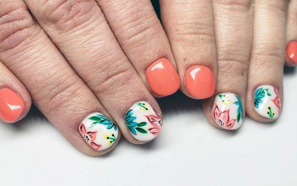 Orange Flora Tropical Nails Women
