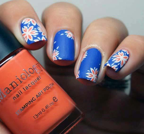 Orange Flowers On Blue Nails For Women